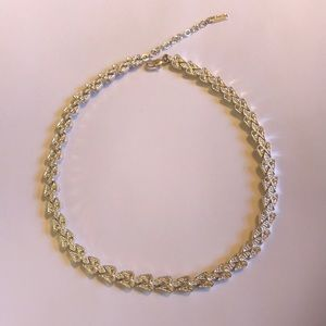 Napier Silver crystal and millgrain fancy necklace